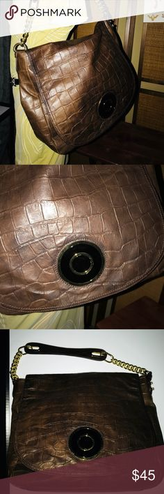 BADGLEY MISCHKA Croc Embossed Brown Leather Bag Bag in excellent condition.   - Gold Hardware  - Clip + Lap Closure  - Clean Inside & Out  - Competitive Offers Welcome  - Satisfaction Guaranteed Badgley Mischka Bags Shoulder Bags