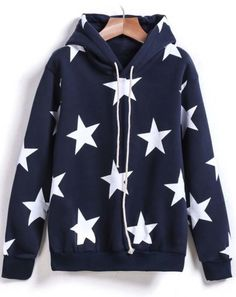 To find out about the Navy Hooded Long Sleeve Stars Print Sweatshirt at SHEIN, part of our latest Sweatshirts ready to shop online today! Cute Comfy Outfits, Pretty Outfits, Stylish Outfits, Cool Outfits, Fashion Outfits, Printed Sweatshirts, Hooded Sweatshirts, Sweat Shirt, Sweat Cool