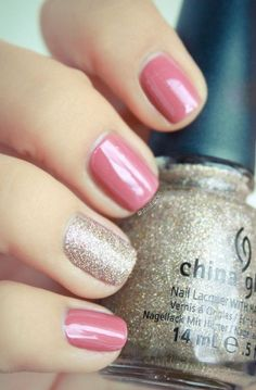 Pink with silver-gold glitter accent nails