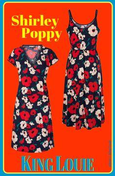 Les robes Shirley Poppy par King Louie Robe cache-cœur Robe mi-longue à bretelles.