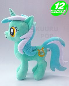 My Little Pony Lyra Heartstrings Plush Lyra Heartstrings is perfectly captured in this gorgeous plush. The magical mint mare has big amber eyes and an embroidered cutie mark of a lyre. - Plush is approx 12 inches / 30 cm tall. - Brand new with tags. - Ages 6 & up.
