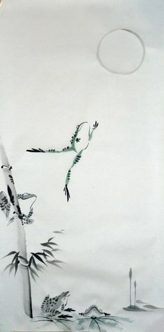 [Which do you prefer, this one in spontaneous style, or the one in detail style?] Original Sumi-e. From March Sumi-e: Reach for the Moon II Japanese Watercolor, Japanese Painting, Chinese Painting, Watercolour, Japanese Prints, Japanese Art, Frog Drawing, Sumi E Painting, Frog Pictures