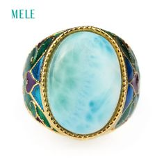 Natural larimar silver ring, oval 13mm*18mm, light blue color and beautiful ocean stone, fashion women jewelry