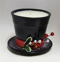 Frosty's Hat Candle **Clay pot glued to clay saucer painted black and fill with candy**