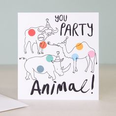 Doodle Birthday Card - You Party Animal    Caroline Gardner