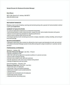 Restaurant Assistant Manager Resume Construction And Facilities Manager Resume  Facility Manager