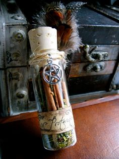 protection bottle #magic #spirituality #wicca #mystical #pentagram #herbs