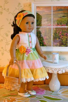 American Girl, 18 inch doll clothes: Easter dress in gingham gathered tiers with rickrack flowers and headband.. $34.99, via Etsy.