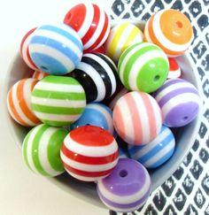 10x Massive 20mm Stripe Resin Juicy Globe beads by CuteCornwall, £2.00