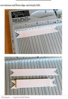 Cheaper than a die for such a thing. would work with stampin' up! score board too. I think I'll need a scoreboard these days.You could totally use the envelope punch board to make this banner as well.Scrapbook Banners: Making banners have dimension. Card Making Tips, Card Making Tutorials, Card Making Techniques, Making Ideas, Card Making Templates, Embossing Techniques, Karten Diy, Envelope Punch Board, Folded Cards