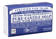 Dr. Bonner's Castile Soap $3-5 a bar (usually lasts 2 months with everyday use)