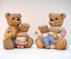 Homco Teddy Bear Family 1444 2 Piece Set Mom Dad Boy Girl  Adorable Teddy Bear Family from Home Interiors. Two piece set includes Mommy Bear holding a little boy bear, and Daddy Bear holding his little girl bear. Each measures approximately 4 inches high by 3.5 inches wide. Fine details and expressions make these truly precious!