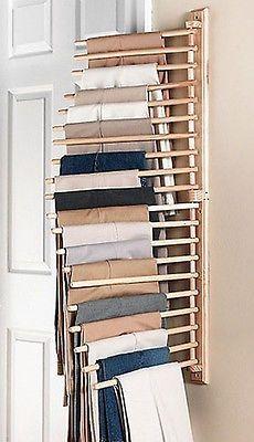 "Wall Mount Trouser Pant Closet Organization Storage Rack 40""H Wood NEW B1032"