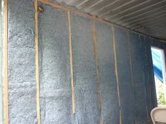 Shipping container homes can be insulated in several ways this house in using the insulation batts between the studs.