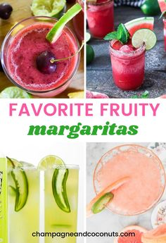 We've collected some of our favorite fruity margarita recipes perfect for National Margarita Day, Cinco de Mayo, or any time. Frozen Watermelon Margarita, Raspberry Margarita, Mango Margarita, Watermelon Cocktail, Grapefruit Cocktail, Margarita Flavors, Margarita Recipes, Cocktail And Mocktail, Cocktail Recipes