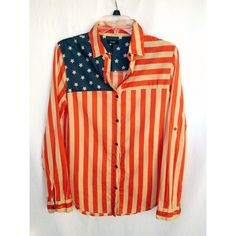 Nollie American Flag Shirt Good Condition. Button up. I got it in a large to wear a shirt under. Will fit small and medium. Nollie Tops Button Down Shirts