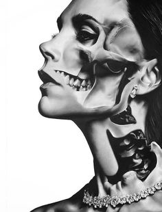 Beneath the skin Black And White Portraits, Black And Grey Tattoos, Dark Fantasy Art, Dark Art, Tattoo Sketches, Tattoo Drawings, Girl Face, Woman Face, Dark Photography