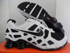 NIKE SHOX TURBO + 12 WHITE-BLACK-GREY SZ 9 [454166-100]  #Nike #RunningCrossTraining