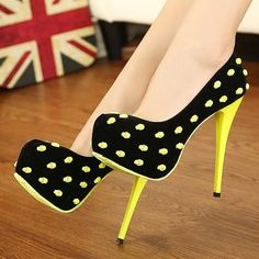 Fashion Round Closed Toe Pokla Dots Stiletto High Heels Yellow Suede Pumps on Chiq http://www.chiq.com/fashion-round-closed-toe-pokla-dots-stiletto-high-heels-yellow-suede-pumps