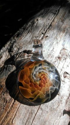 Heady Glass Pendant / Autumn Color Spiral by KarmicSutraCreations