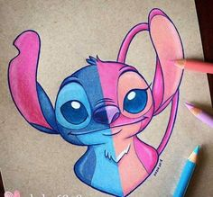 Stitch and Angel Stitch and Angel Disney Stitch, Disney Fan Art, Disney Disney, Kawaii Disney, Disney Babies, Art Drawings Sketches, Easy Drawings, Color Pencil Drawings, Sweet Drawings