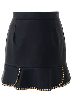 Stud Trim Faux Leather High Waist Skirt
