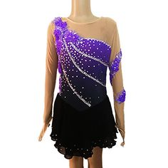 Girl's Purple and Black Spandex Long Sleeve Figure Skating Dress(Assorted Size) - USD $ 129.99 the dress I'm getting