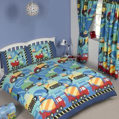 Construction Time Boys Bedding Crib Toddler Twin Or Full Duvet Comforter Cover Set Trucks Diggers