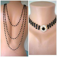 Black Backdrop Necklace, Bridal Backdrop SET, by CrystalPearlJewelry on Etsy, $94
