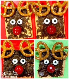 Students enjoyed reindeer snacks featuring pretzels, candy eyeballs and chocolate spread.