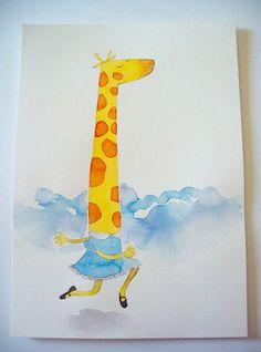 Santiago Régis  #illustration #watercolor #giraffe