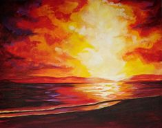 Sunset at the BEACH Beginners Acrylic Step by step  The Art Sherpa on Youtube