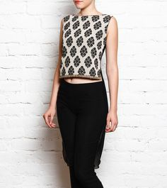 #Block #Printed #Top With #Draped #Back And Embroidered #Front In #Georgette And #Satin by #Nandita #Thirani at #Indianroots