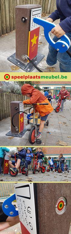 Basisschool De Puzzel in Balen. Tankstation op de verharding van het schoolplein. #primaryschool #schoolyard #playground #courderécréation #airedejeux #Schulhof #spielplatz #lekeplass #onderbouw #parquesinfantiles #lekplats #kleuterschool #speeltijd
