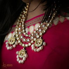 Indian Wedding Jewelry - Pearl and Polki Wedding Jewelry Pakistani Jewelry, Indian Wedding Jewelry, Indian Jewelry, Bridal Jewelry, Western Jewelry, Ethnic Jewelry, Metal Jewelry, Jewelry Design, Designer Jewellery