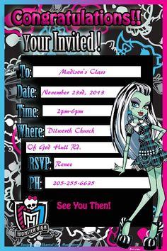 Free Printable Monster High Invitation Draculaura