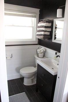 Bathroom with Black Walls, Black and White Bathroom, Modern Industrial Bathroom www.BrightGreenDoor.com