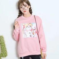 http://dejavucat.storenvy.com/products/18896248-angry-sailor-moon-and-plush-sweatshirt  #sailormoon #anime #graphics #japanese #fairykei #cute #kawaii #fashion #pullover #hoodie #sweater #sweatshirt #blouse #pink #funny #storenvy