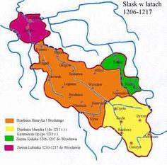 The Duchies of Silesia 1206-1217 Orange = Henry I Green = Władysław Odonic Magenta = Lubusz Land  Yellow = Mieszko I, 1211: Casimir I