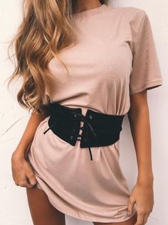 #spring #outfits Blush Oversized Tee + Black Laced Up Corset