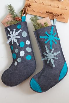 Felt Christmas stockings. Great novice sewing project