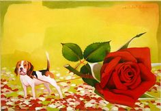 Titre de l'image : Myung-Bo  Sim - The Rose and the Dog, 2004 (oil on canvas)