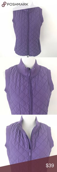 "Pendleton Full Zip Purple Quilted Vest Full zip quilted vest by Pendleton.   Freshly cleaned. Extremely minor discolored spot near armhole as shown - very faint. Otherwise in good pre-owned condition.  Measurements are approximate: Underarm to underarm: 19.5""  Total length: 24""  S2 Pendleton Jackets & Coats Vests"