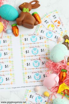 Easter egg hunts are one of our family's favorite Easter traditions.  A few years ago I decided to mix things up and filled our eggs with Easter Bunny Bucks instead of candy. #easter #freeprintable #holidayprintables #gigglesgalore #gigglesgalorecreates #holidayideas