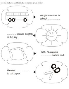 See the pictures and finish the sentences given below Preschool Learning Activities, Fun Learning, Teaching Kids, English Grammar For Kids, Pattern Worksheet, Language Acquisition, 1st Grade Worksheets, Kids Fun, Grade 1