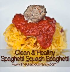 Clean Eating Spaghetti Squash Spaghetti. If you've never tried spagetti squash as a substitute for pasta, I suggest you give it a go. Tastes amazing and so much healthier.
