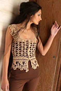 Crochet Vest - Cecilia Chemise-a