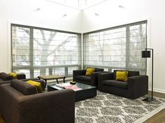 Modern Home window treatments Design Ideas, Pictures, Remodel and Decor. Gauzy roman blinds instead of sheers!