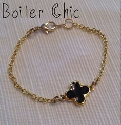 Gold and Black Clover Chain Bracelet by BoilerChic on Etsy, $14.00