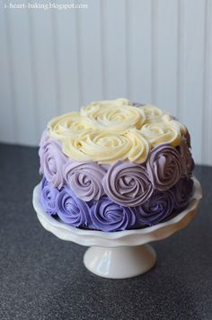 purple ombre roses cake ~ cream cheese and butter frosting!  The only way to go.